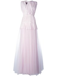 Giambattista Valli Tulle Pleated Layers Dress Pink Purple