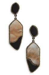 Leith Resin Drop Earrings Black White