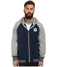 Converse Patch Hooded Baseball Jacket Navy Men's Sweater