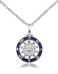 Forzieri Stainless Steel Cutout Rudder Pendant Necklace Silver
