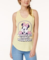 Mighty Fine Juniors' Minnie Mouse Graphic Print Tank Top Yellow