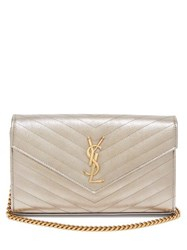 Saint Laurent Envelope Quilted Leather Cross Body Bag Metallic