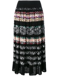 Missoni Pleated Zig Zag Stripe Skirt Black