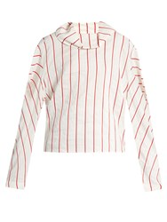 A.W.A.K.E. To The Sea And Back Striped Blouse Ivory Multi