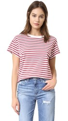 The Great Boxy Crew Tee Vintage Red And Cream Stripe