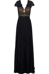 Catherine Deane Woman Nessie Cotton Blend Lace And Silk Chiffon Gown Black