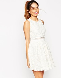 Asos Lace Crop Top Skater Dress Cream