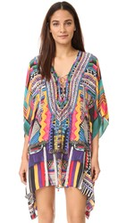 Camilla Woven Wonderland Short Lace Up Caftan