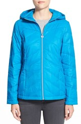 Women's Guess Hooded Packable Quilted Jacket Azure