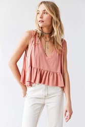 Truly Madly Deeply Josephine Babydoll Tank Top Coral