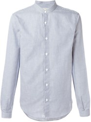 Melindagloss Mao Collar Pinstripe Shirt Blue