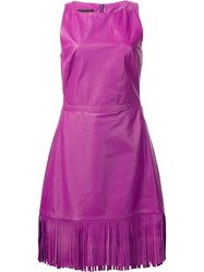 Boutique Moschino Fringed Fitted Dress Pink And Purple