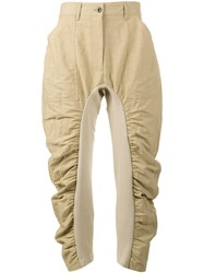 Stella Mccartney Cropped Trousers With Ruched Panels Women Cotton Linen Flax Polyamide 46 Nude Neutrals