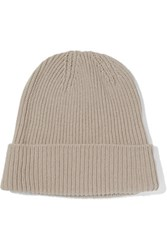 Toteme St Moritz Ribbed Knit Beanie Beige