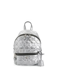 Moschino Metallic Quilted Teddy Bear Backpack Silver