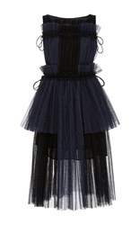 Dice Kayek Color Block Pleated Dress Navy
