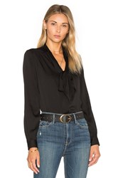 Milly Tie Neck Blouse Black