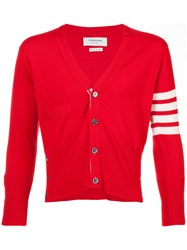 Thom Browne Short V Neck Cardigan With 4 Bar Stripe In Red Cashmere Cashmere