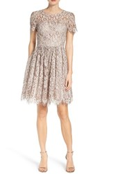 Eliza J Women's Lace Fit And Flare Dress Taupe