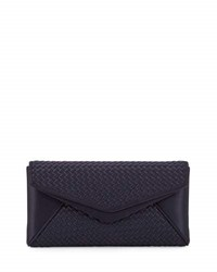 Neiman Marcus Woven Satin Envelope Evening Clutch Bag Navy