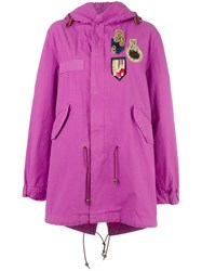Mr And Mrs Italy Bouganville Patched Mid Coat Pink Purple