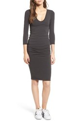 James Perse Women's V Neck Ruched Dress Carbon