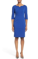 Women's Classiques Entier Notch Neck Ponte Sheath Dress Blue Sodalite
