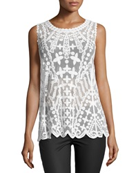 Laundry By Shelli Segal Embroidered Mesh Tank Optic White