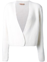 Nehera Cable Knit Cropped Cardigan White