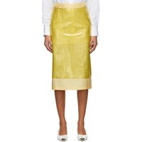 Sies Marjan Yellow Embossed Plastic Sula Straight Skirt