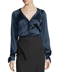 Zac Posen Long Sleeve Charmeuse Blouse Midnight Black Women's