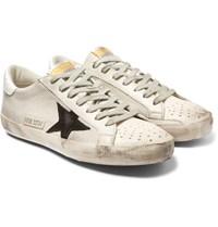 Golden Goose Superstar Distressed Mesh Leather And Suede Sneakers Off White