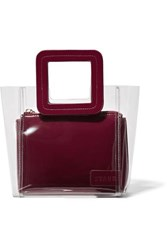 Staud Shirley Mini Pvc And Leather Tote Burgundy