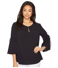 Ellen Tracy Ruched Sleeve Top Night Sky Clothing Blue