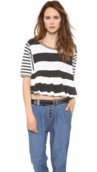 Free People Boxcar Crop Tee Black Combo