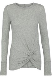 Enza Costa Twisted Cotton And Cashmere Blend Sweater Stone