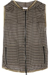 Brunello Cucinelli Gingham Cotton Blend Hooded Vest Black