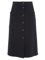 Raey Button Through A Line Wool Blend Midi Skirt Navy