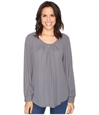Stetson Poly Crepe Peasant Blouse Grey Women's Blouse Gray