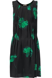 Nina Ricci Pleated Floral Print Silk Dress Green