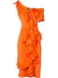 Christian Siriano Fitted Ruffle Trim Dress Women Silk 6 Yellow Orange