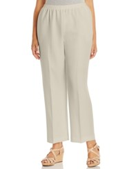 Alfred Dunner Plus Size Pull On Straight Leg Pants Tan