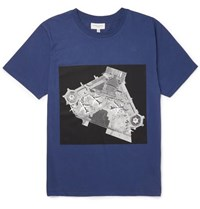Public School Printed Cotton Jersey T Shirt Blue