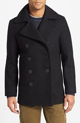 Men's Schott Nyc Slim Fit Wool Blend Peacoat Navy