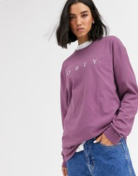 Obey Relaxed Long Sleeve T Shirt With Front Logo Purple