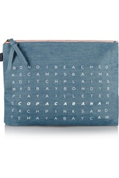 Soludos Beach Words Scramble Large Chambray Pouch Blue