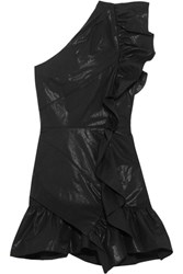 Isabel Marant Lavern One Shoulder Ruffled Coated Cotton Blend Mini Dress Black