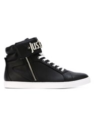 Just Cavalli Logo Plaque Hi Top Sneakers Black