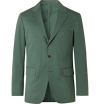Camoshita Herringbone Cotton Suit Jacket Green