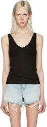Alexander Wang T By Black Merino Ribbed Tank Top